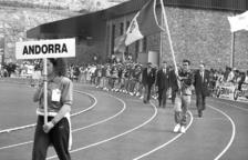 EL MOMENT MÉS ESPERAT. La delegació andorrana a la cerimònia inaugural.