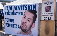 Caseta per a la recollida de suport a favor de Janitskin quan va intentar ser candidat a la presidència finlandesa.
