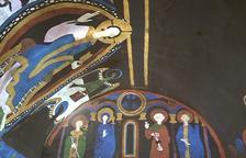 L'església de Santa Coloma ha recuperat les pintures romàniques gràcies a la tècnica del videomapatge