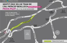 Plànol del canvi en la circulació a l'avinguda Príncep Benlloch