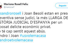 Tuit de Mariona Rosell, germana de Sandro.