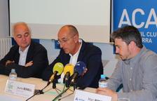 El president de l'ACA, Enric Pujal, el director de Mobilitat, Jaume Bonell i el director d'Actua Innovació, Marc Pons, durant la presentació de l'informe IMACA
