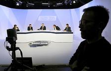 Els quatre candidats a cònsol d'Ordino, ahir als estudis d'Andorra Televisió.