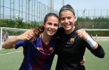 Morató, a l'esquerra, celebra un títol de lliga amb el Barça.