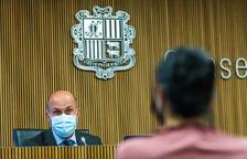 El ministre Benazet i la consellera Montaner durant la compareixença d'ahir.