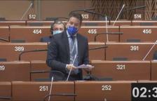 Pere López durant la intervenció avui al Consell d'Europa