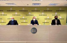 El president de la Federació de Golf d'Andorra, Xavier Espot, Joan R. Mas, de Crèdit Andorrà, i el seleccionador, José Manuel Lara.