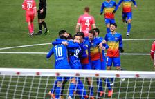 Els tricolors celebren un dels gols contra el Llagostera.