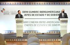 El cap de Govern, Xavier Espot, i el president de la CEA, Gerard Cadena.