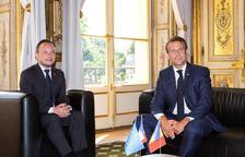 Espot i Macron, durant una trobada