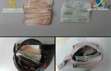 La guàrdia civil intervé 46.645 euros a la duana