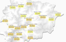 Ales Fonts, a Arinsal s'ha arribat a una temperatura mínima de 10,7Cº
