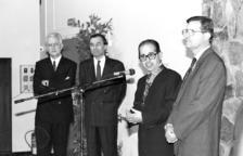 Eduard Rossell Pujal parla després de rebre la Palma Acadèmica de França el 1992 al Lycée.