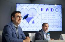Miquel Canturri, conseller de Cultura i de Promoció Turística i José Manuel da Silva, cònsol honorari de Portugal a la presentació