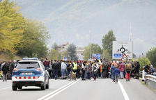 Tall de carretera a la Seu en el marc de les protestes pel Procés.