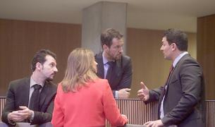 Els tres consellers del PS amb el liberal Jordi Gallardo.