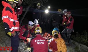 Moment del rescat de l'escaladora andorrana al Baix Pallars, ahir
