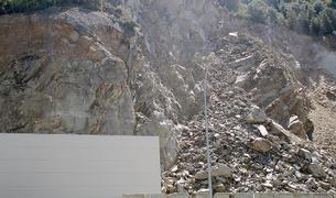 Una imatge de la zona de l'esllavissada, ahir.