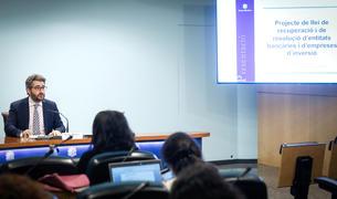 El ministre de Finances,Eric Jover, durant la presentació del projecte de llei.