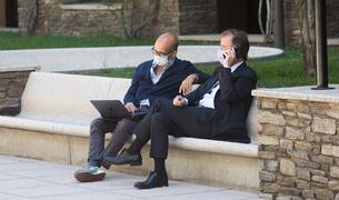 Pere Pujol i l'advocat Carrillo a Prada Casadet