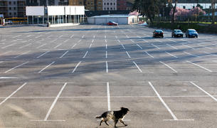 L'aparcament del Parc Central, a Andorra la Vella, el primer dia de confinament.