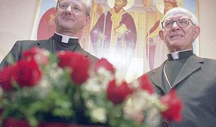 joan-enric vives amb Martí Alanis, el dia del nomenament com a bisbe coadjutor