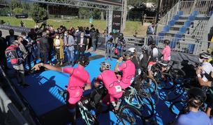 Sortida dels ciclistes del Multisport Festival aquest matí