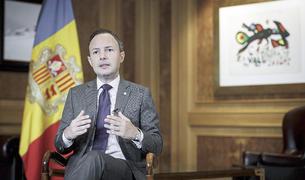 El cap de Govern, Xavier Espot, durant el seu discurs telemàtic a l'ONU.