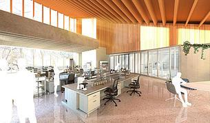 Imatge virtual de l'interior del laboratori.