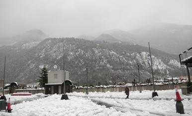 Fanals caiguts a la plaça del Poble per la nevada
