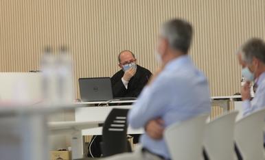El fiscal general, Alfons Alberca, abans de l'inici de la vista oral aquest matí