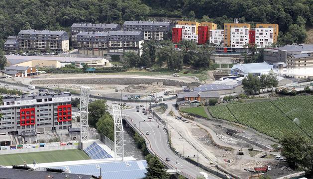 Vista de les obres d'urbanització dels terrenys de la Borda Nova.