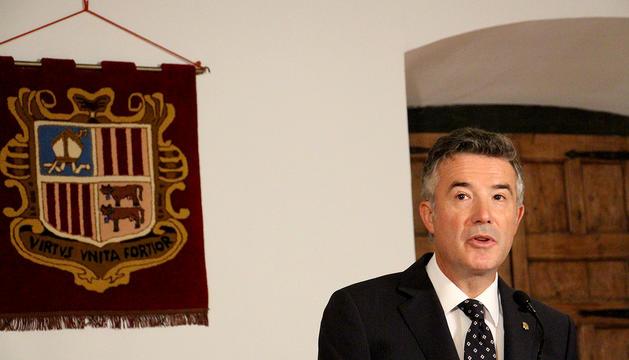 El síndic Vicenç Mateu durant el discurs del Dia de Meritxell a la Casa de la Vall