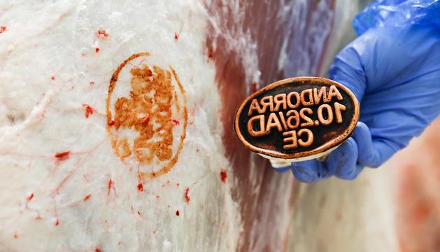 El veterinari de Salut marca la carn com a apte per al consum si tot és correcte.
