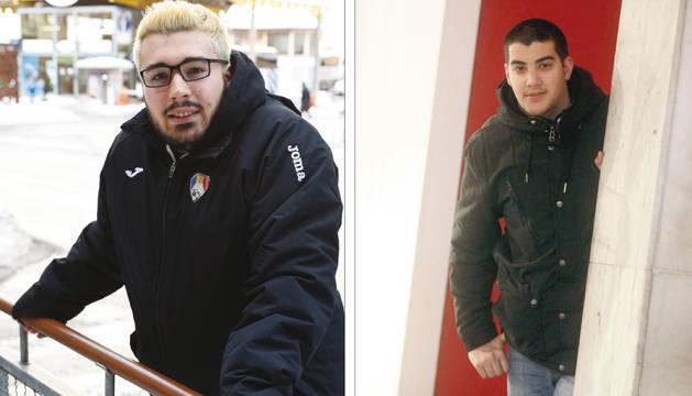 A l'esquerra, el VÍctor, que compagina la carrera a l'UdA amb una feina a les tardes. A la dreta, el Pere, llicenciat, estudia un grau a distància i treballa al Lycée.