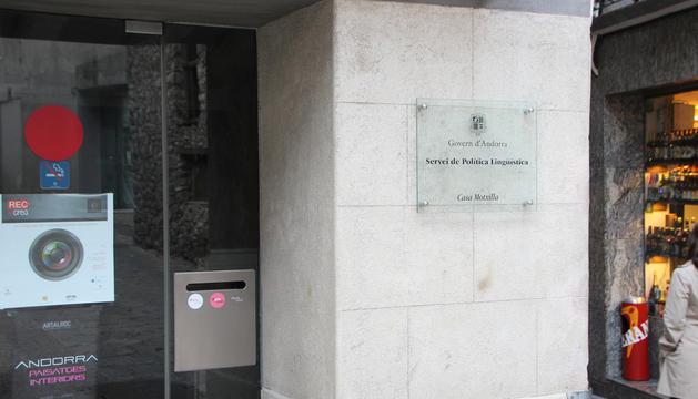 Una imatge de la seu del Servei de Política Lingüística