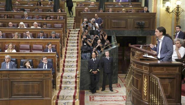 Pablo Iglesias durant una de les seves intervencions, ahir al Congrés espanyol.