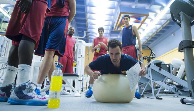 Jugadors del Barça en una pretemporada a Encamp