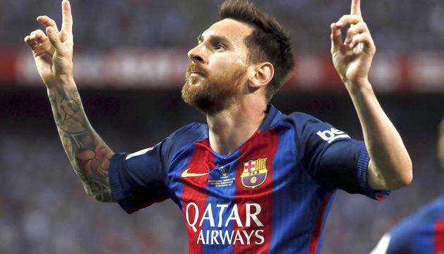 Leo Messi celebrant un gol la temporada passada.