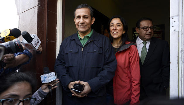 Ollanta Humala i Nadine Heredia al local del seu partit.