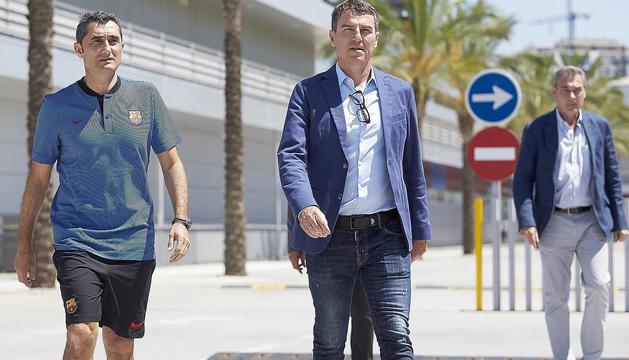 L'entrenador, Ernesto Valverde, i el secretari tècnic, Robert Fernández.