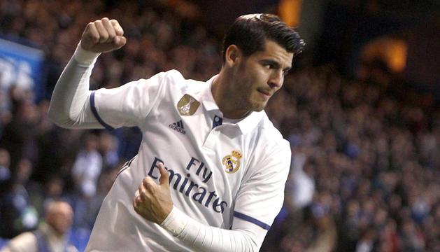 Álvaro Morata celebra un gol amb el Reial Madrid.
