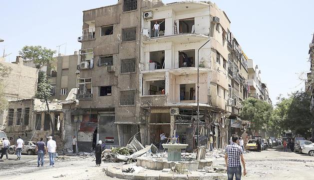 Un edifici destruït després d'un atemptat a Damasc.