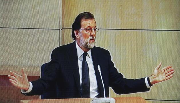 Mariano Rajoy, ahir durant la seva declaració com a testimoni al judici del 'cas Gürtel'.