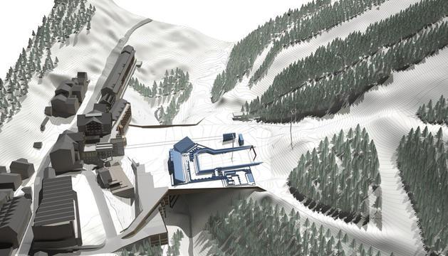 Recreació de la plataforma esquiable de Soldeu.