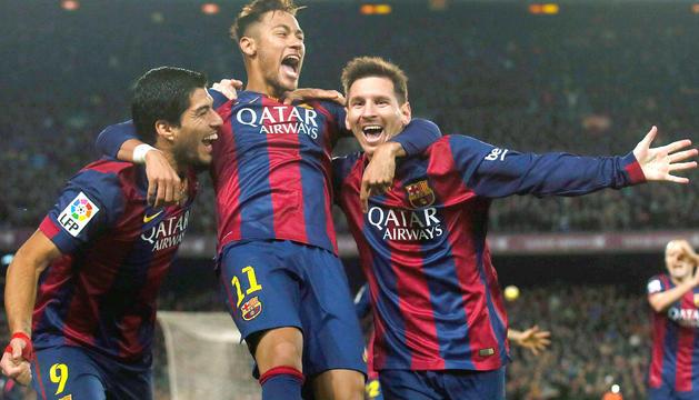 El trident de davanters format per Messi, Suárez i Neymar, el primer any amb Luis Enrique a la banqueta.