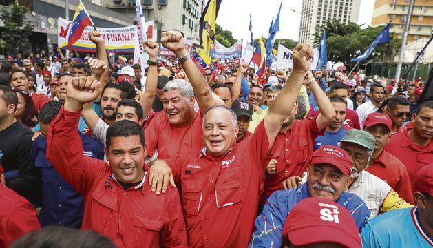 Marxa ahir a Caracas en favor del govern de Nicolás Maduro.