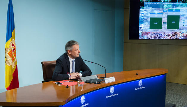 El ministre d'Economia, Competitivitat i Innovació, Gilbert Saboya, durant la roda de premsa.