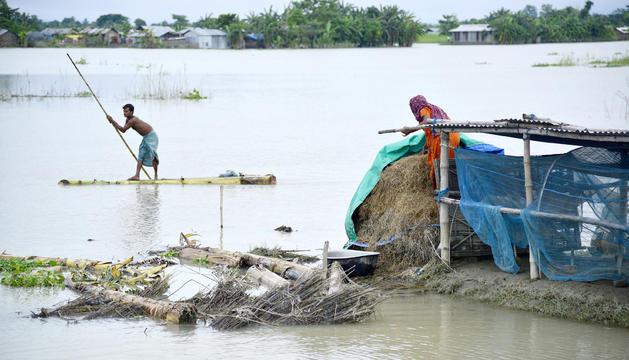 Una parella busca pertinences enmig de l'aigua a Assam.