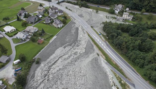 Vista del lliscament de fang a Suïssa.